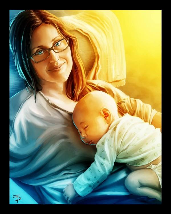 dibujo de madre con el hijo durmiendo