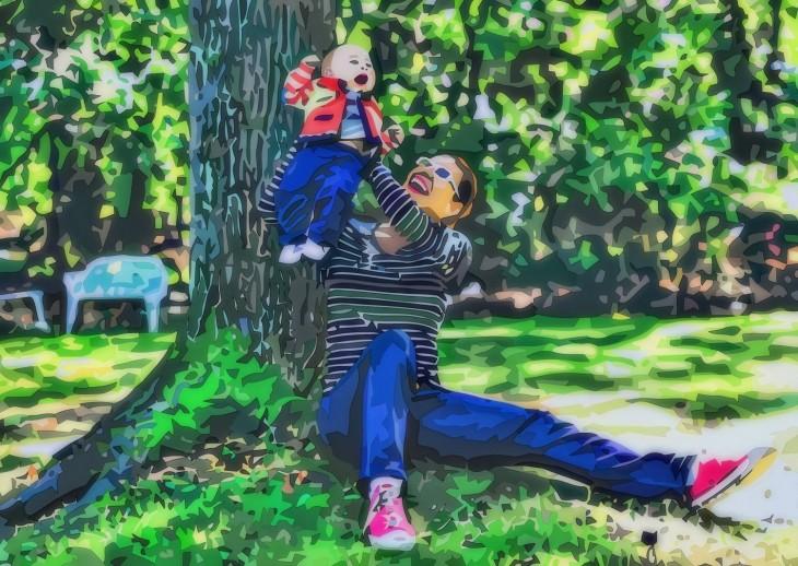 dibujo madre en el parque con su hijo