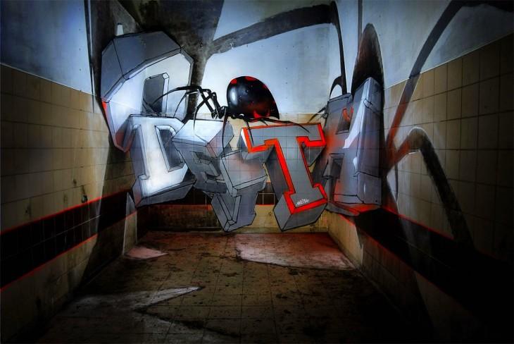 Graffiti en 3 dimensiones por Odeith sale del muro