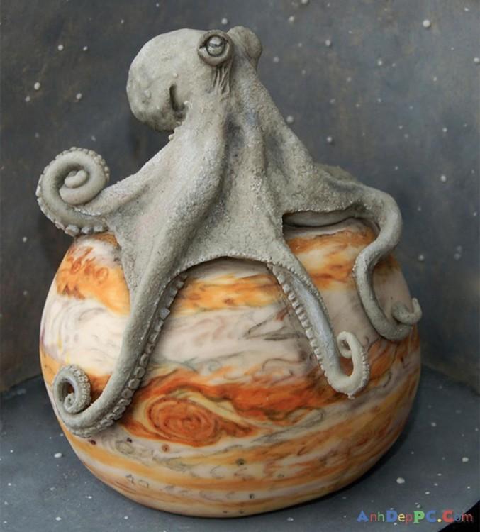 pastel planeta y pulpo