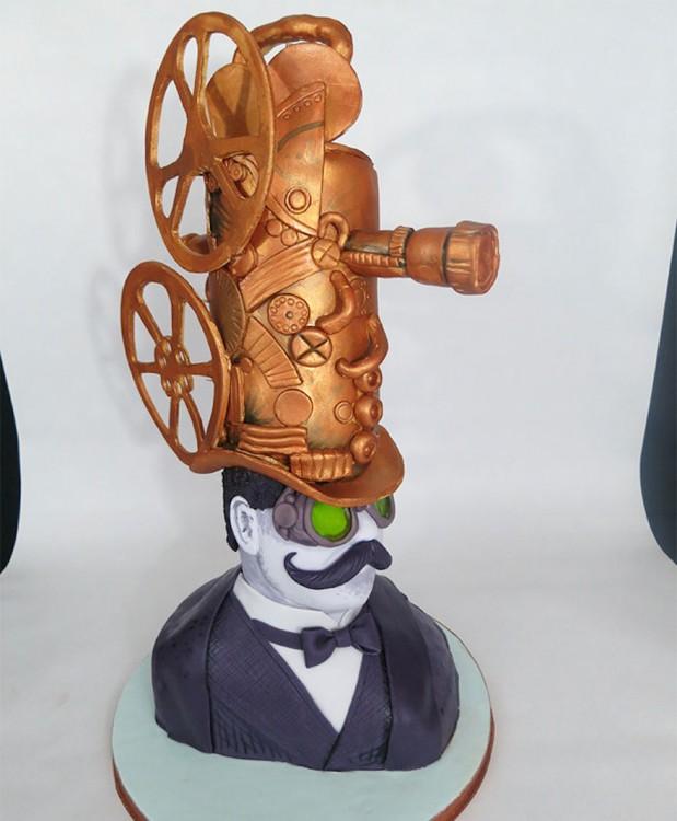 pastel cabeza de invento