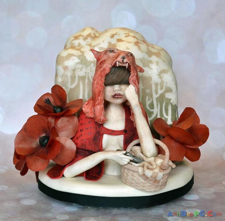 pastel de mujer esperando