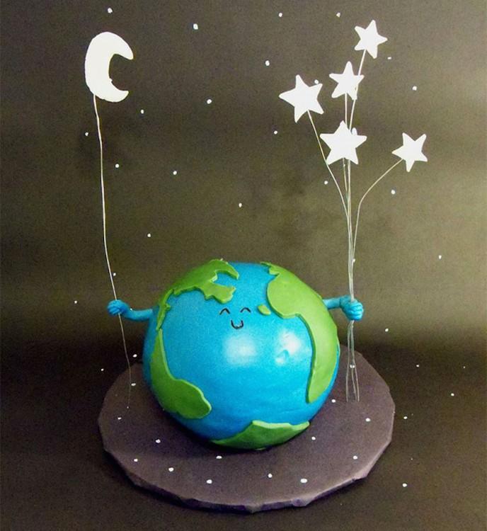 pastel planeta y estrella