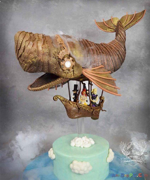 pastel de ballena volando