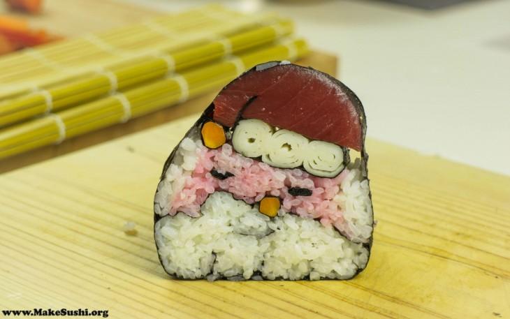 sushi en forma de santa para la navidad
