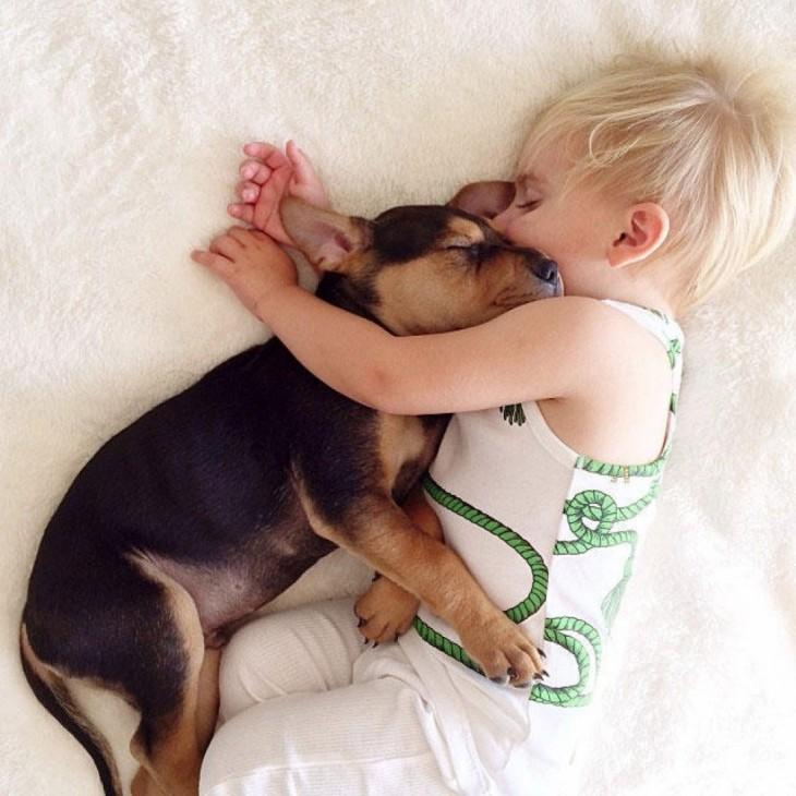 niño y perro dormidos abrazados