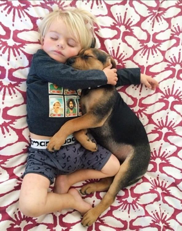 niño y perro demostrandose amor mientras duermen
