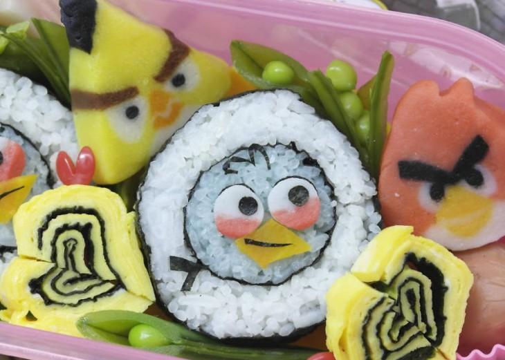 sushi en forma de pajaritos de angry birds