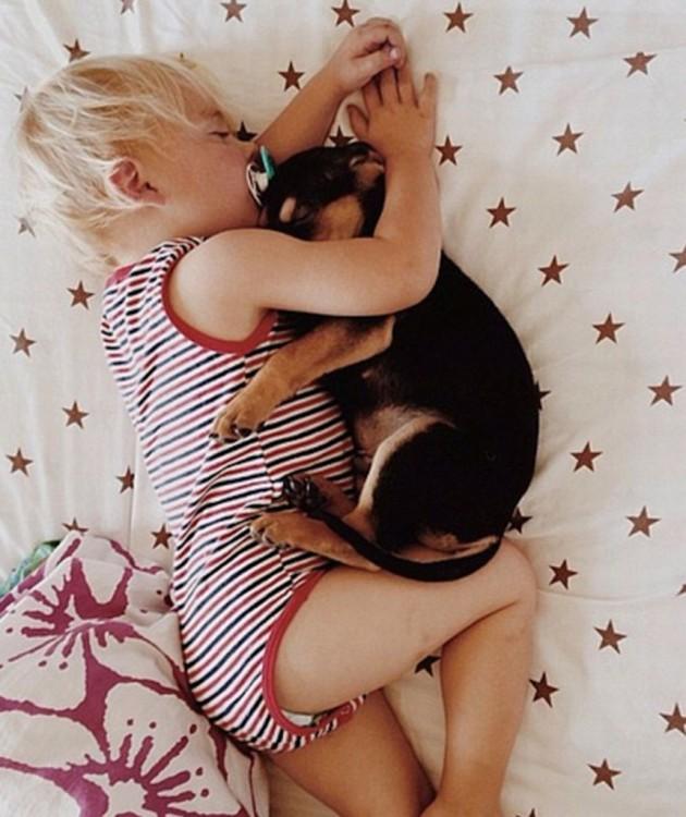 bebe y cachorro dormidos abrazados