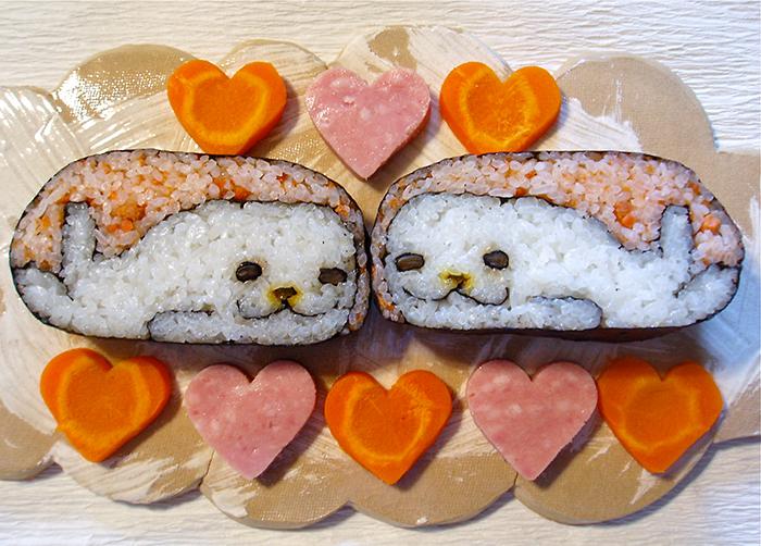 sushi en forma de focas blancas