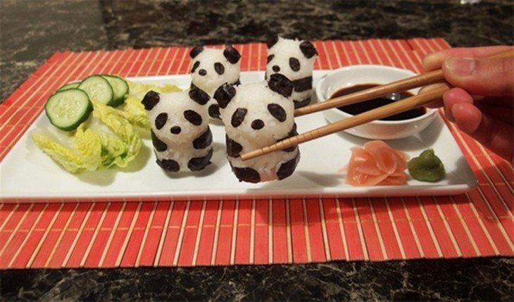 sushi en forma de panda
