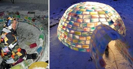 pareja que construyo un iglu a partir de cajas de leche y mucha nieve