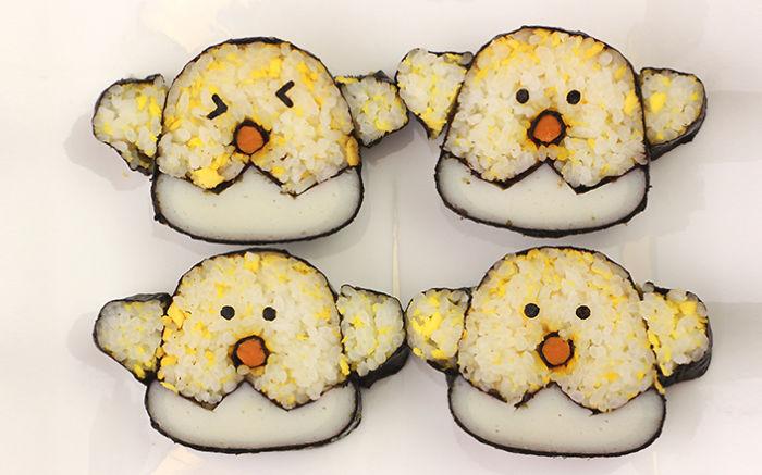 sushi en forma de pollitos amarillos