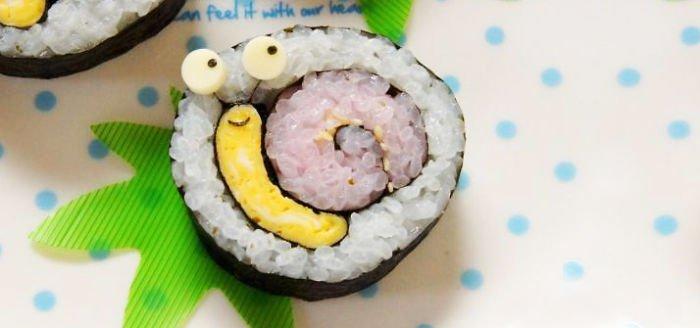 sushi en forma de caracol