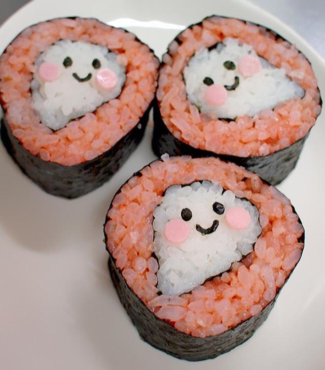 sushi en forma de fantasmas