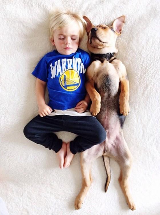 niño vestido con playera azul y pantalon azul dormido boca arriba con su perro