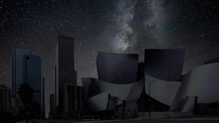 los angeles disney hall a oscuras
