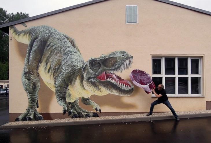 Tyrannosaurus rex, который будет топливом с pdeazo мяса