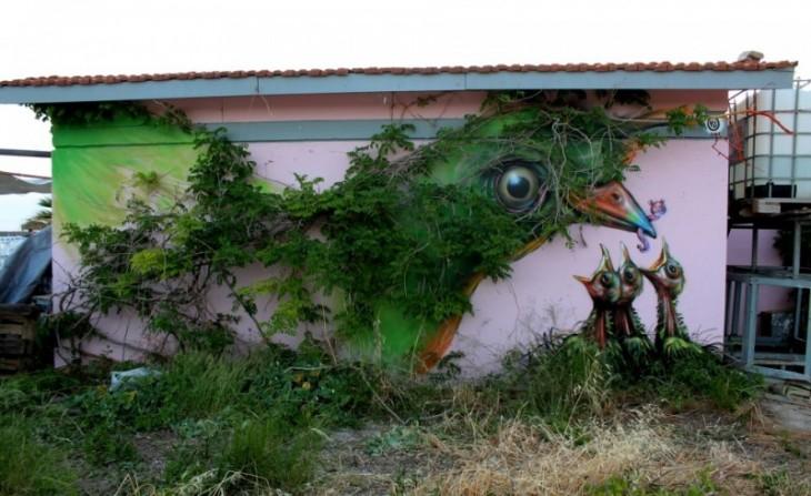 pajaro, который будет создан листвы, которая находится на стене