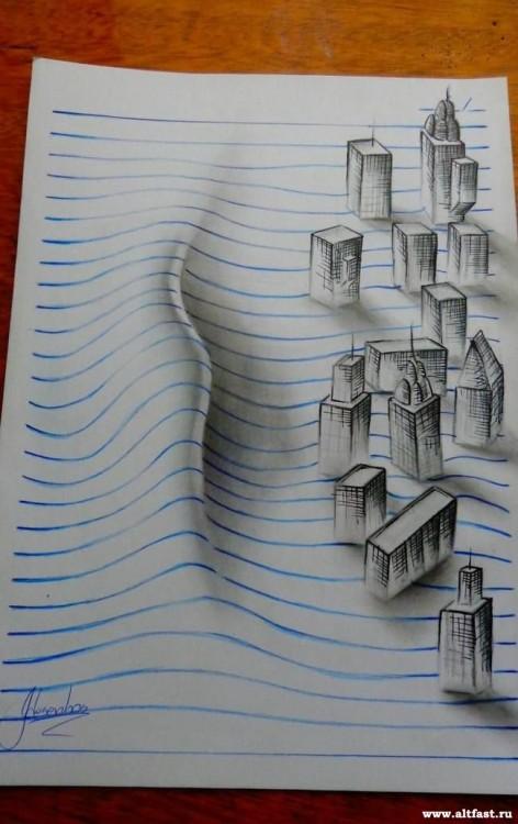 João A Carvalho tsunami edificios 3d en bloc de notas