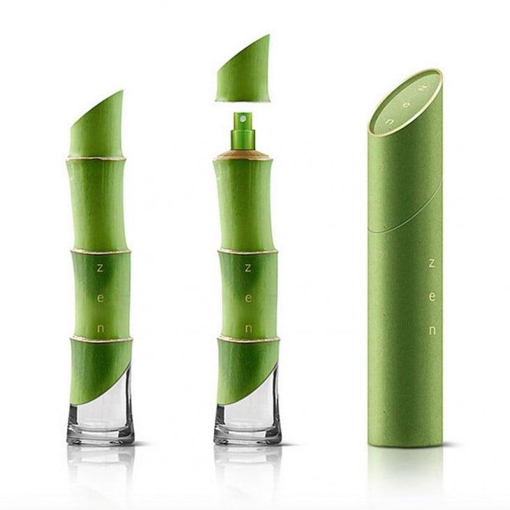 botella de perfume en forma de bambu
