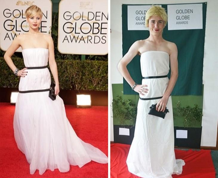 chico de 17 se disfraza como Jennifer Lawrence