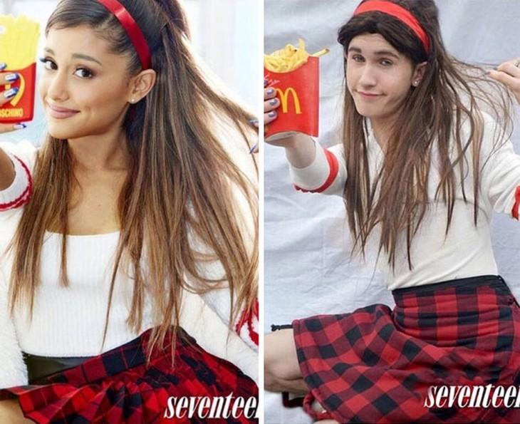 chico de 17 se disfraza como Ariana Grande