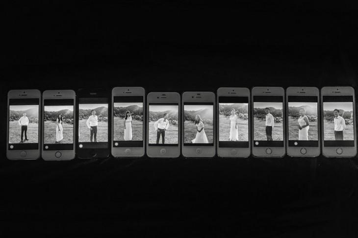 fotografias de los asistentes de la boda en los celulares