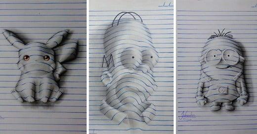 artista realiza dibujos 3d en un bloc de notas
