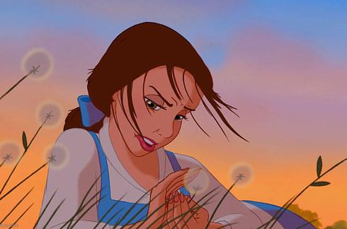la princesa bella es despeinada por el viento