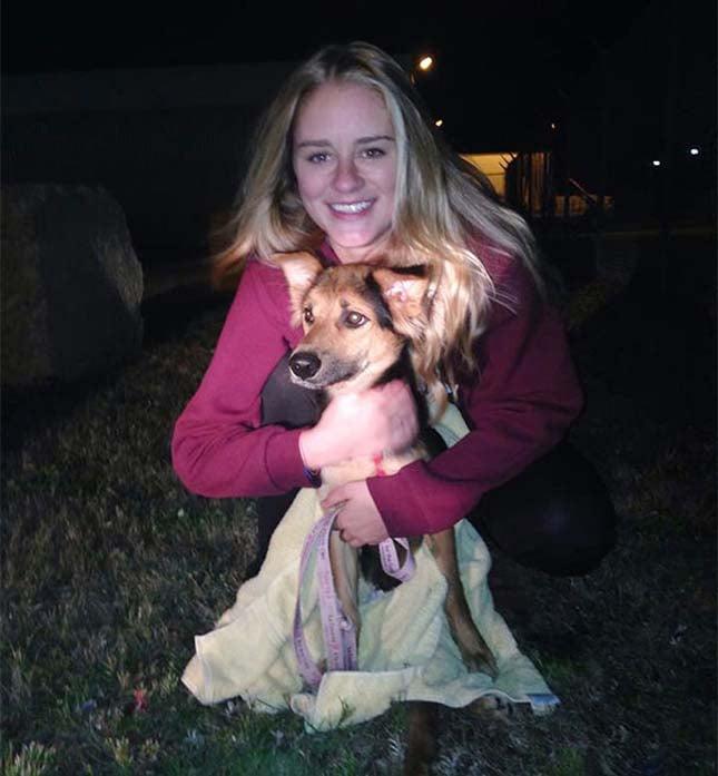 perrito es cobijado por su dueña
