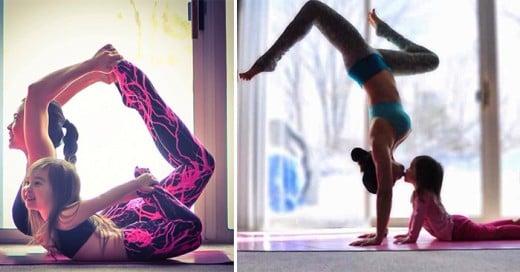 medre e hija hacen fotos haciendo yoga