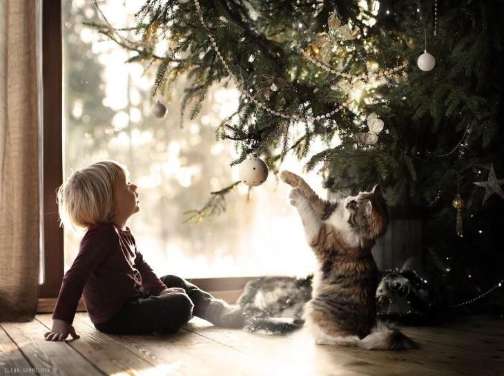 niño y gato jugando
