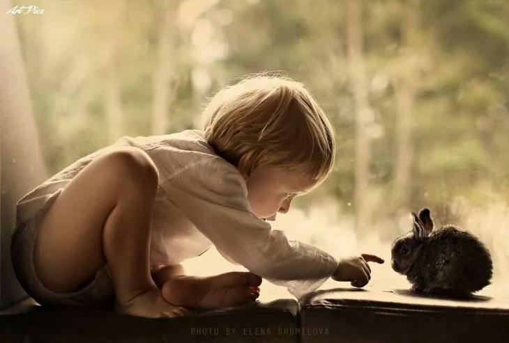 niño y conejo jugando