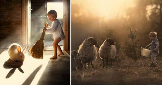 madre rusa toma fotos de sus hijo en granja