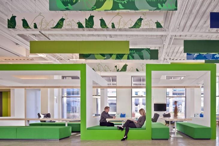 oficina con pared verde