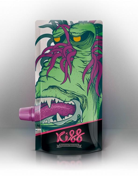 gel de un monstruo de color verde su lengua en la tapadera