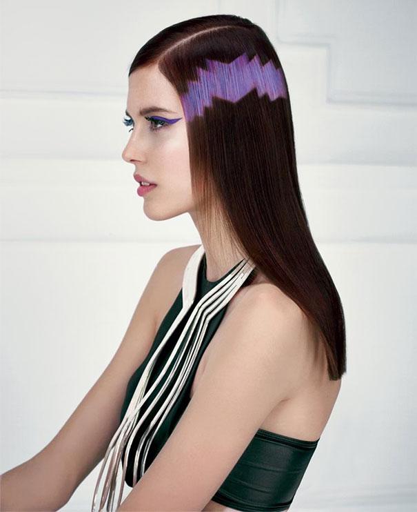 cabello obscuro con un pixeleado de color lila