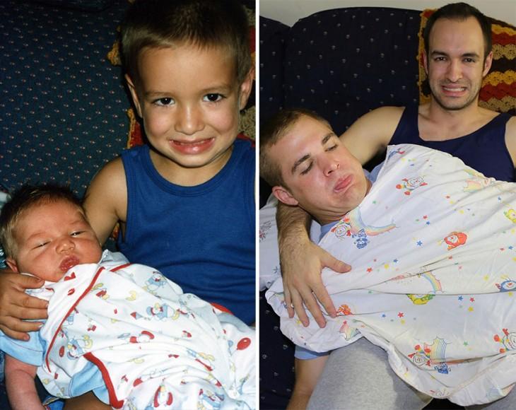 niño cargando a su hermano menor, de igual forma en la segunda foto carga a su hermano menor quien ya es grande