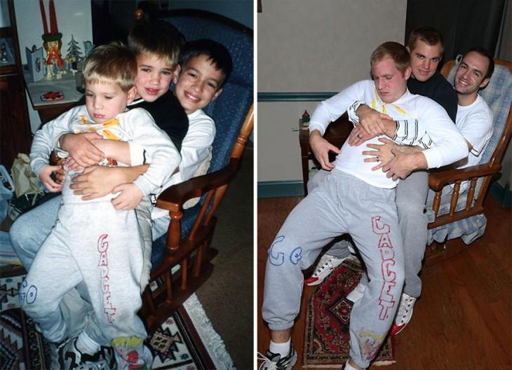 tres niños arriba de una mesedora en la otra imagen jovenes mayores sentados en una msedeora