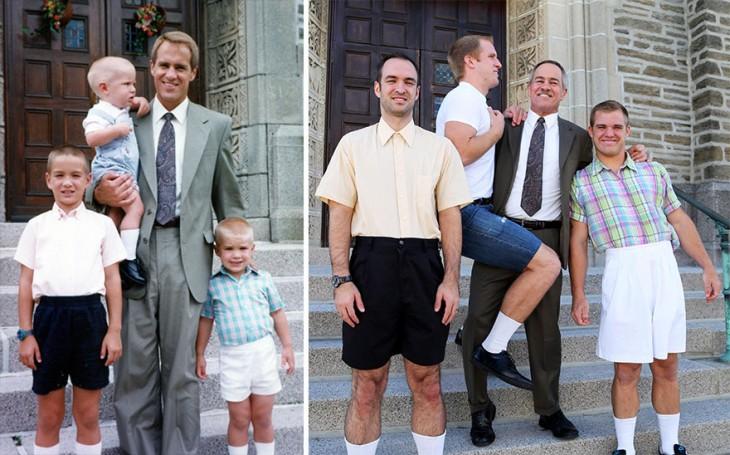 padre cargando a su hijo pequeño al lado de sus otros dos hijos, y en la otra imagen recreando la imagen cuando crecieon