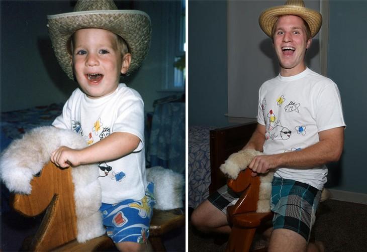 niño arriba de un caballito con un sombrero, en la otra foto joven arriba sobre un caballito de madera