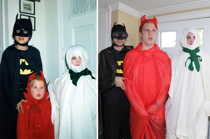 niños disfrazados de batman, diablo y fantasma, la recreacion de tres hombres mayores con el mismo disfraz