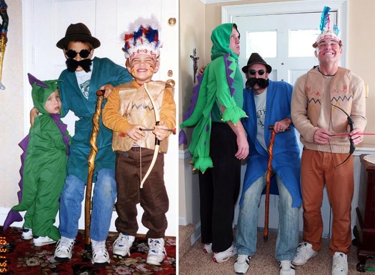 disfraz de halloween de dragon, apache y un anciado, recreacion de los hermanos cuando ya estan grandes con el mismo disfraz