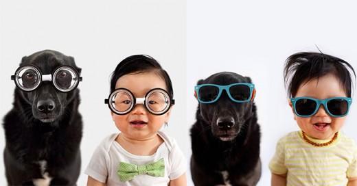 madre recrea fotos con su hijo y perro deisfrazados