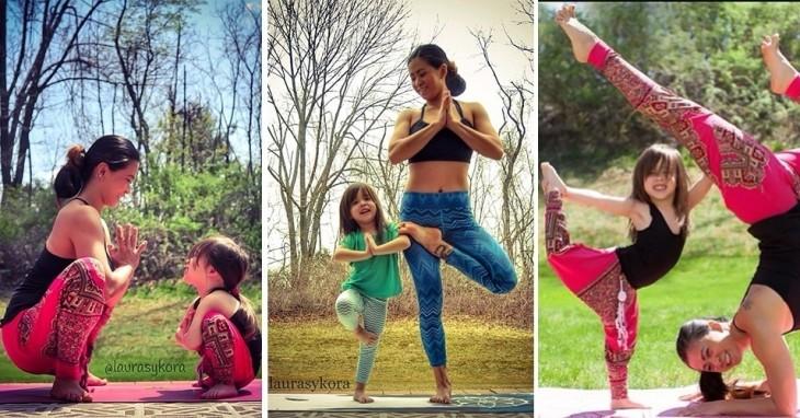 tres imagenes en donde madre e hija hacen yoga