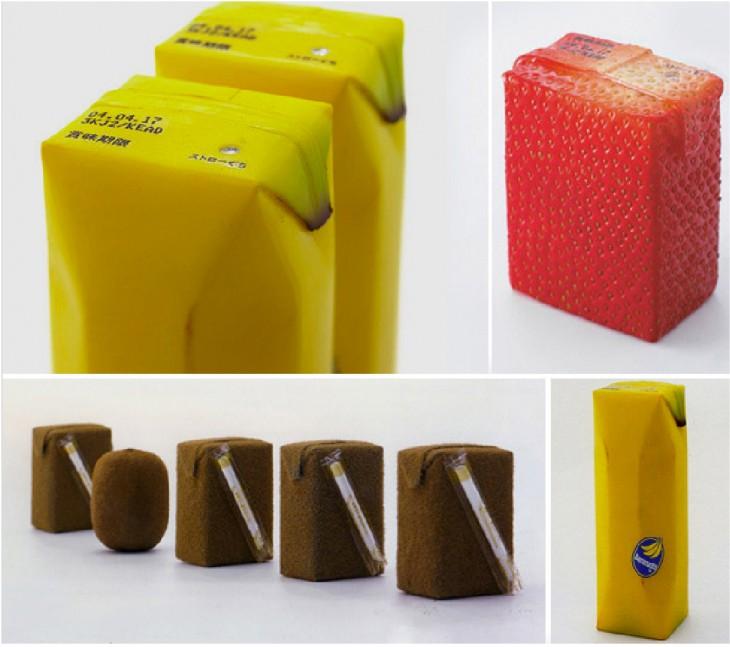 caja de jugo con forma de fruta