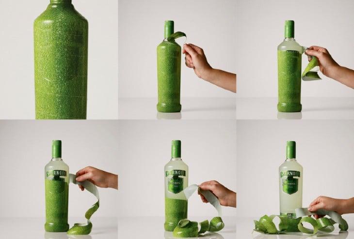 botella de vodka que simula el sabor