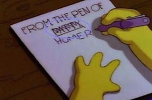 Errores en los simpson Cambia la posición del nombre Homero, y la manera e