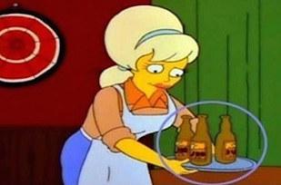 Errores en los simpson Cambian las bebidas en la bandeja de la mesera